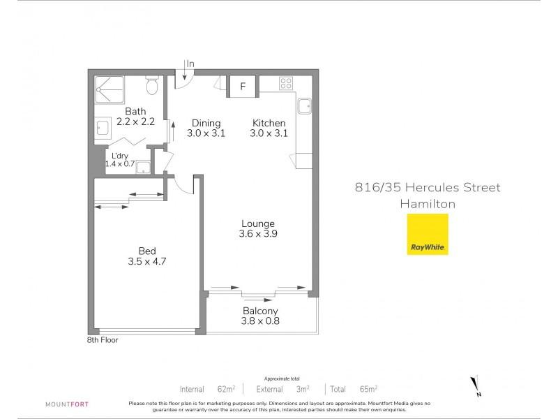 816 / 35 Hercules Street, Hamilton QLD 4007 Floorplan