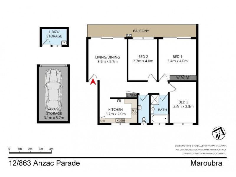 12/863 Anzac Parade, Maroubra NSW 2035 Floorplan
