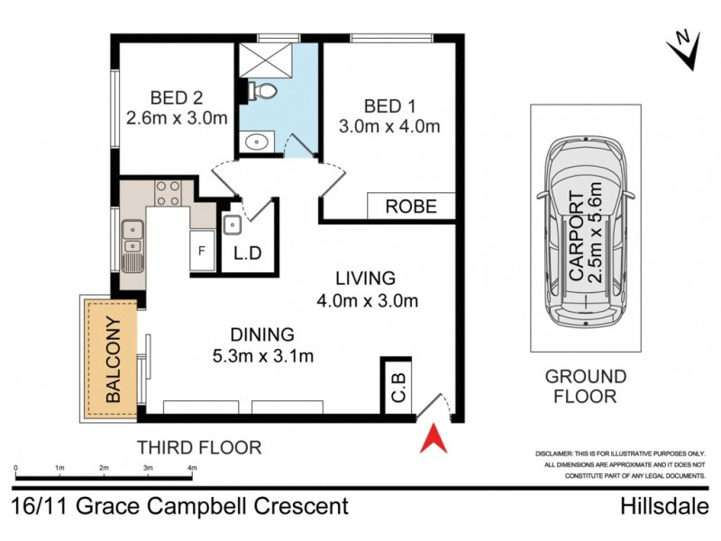16/11 Grace Campbell Crescent, Hillsdale NSW 2036 Floorplan