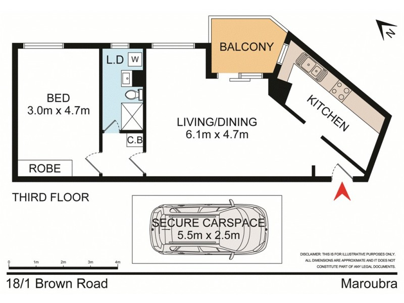 18/1 Brown Road, Maroubra NSW 2035 Floorplan