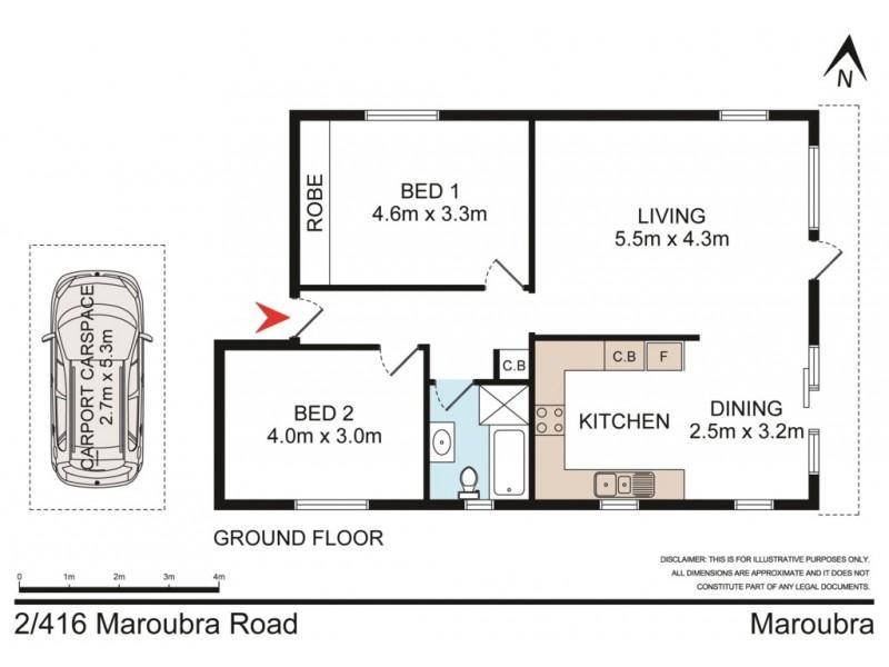 2/416 Maroubra Road, Maroubra NSW 2035 Floorplan