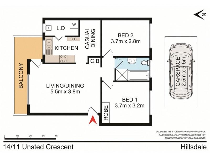 14/11 Unsted Crescent, Hillsdale NSW 2036 Floorplan