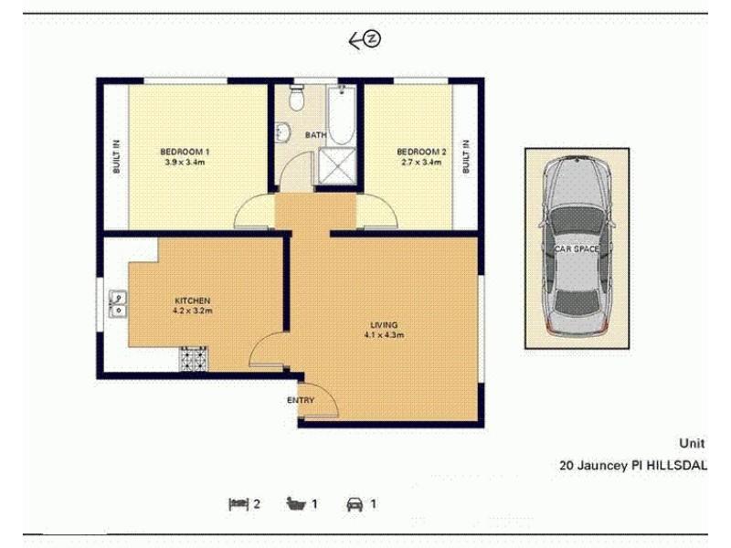 1/20 Jauncey Place, Hillsdale NSW 2036 Floorplan