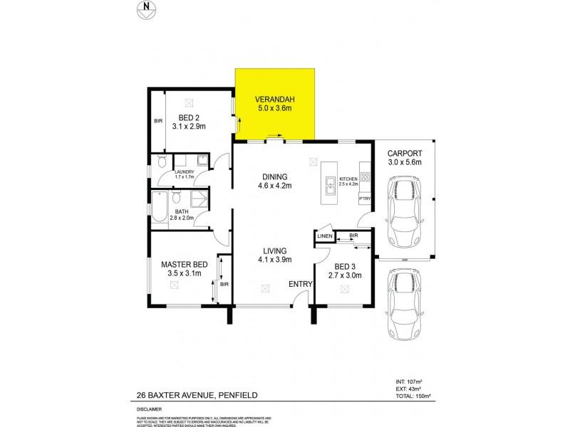 26 Baxter Avenue, Penfield SA 5121 Floorplan