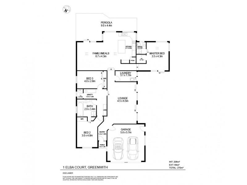 1 Elba Court, Greenwith SA 5125 Floorplan