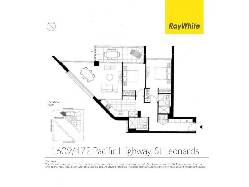 1609/472 Pacific Highway, St Leonards NSW 2065 Floorplan