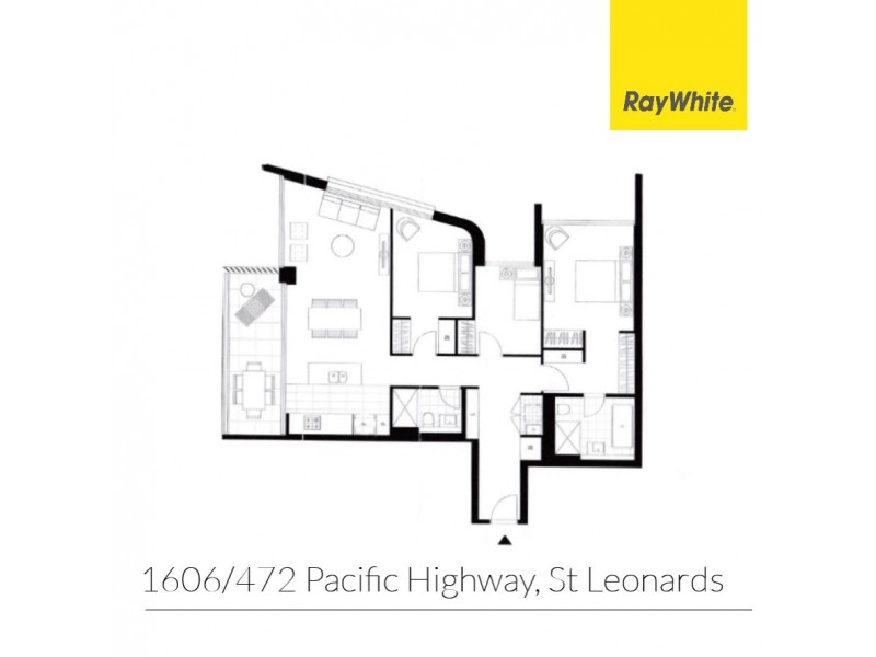 1606/472 Pacific Highway (rear of the block), St Leonards NSW 2065 Floorplan