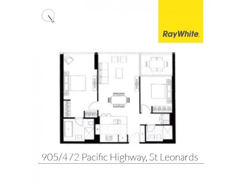 905/472 Pacific Highway, St Leonards NSW 2065 Floorplan
