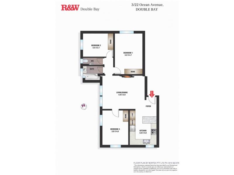 3/22 Ocean Avenue, Double Bay NSW 2028 Floorplan