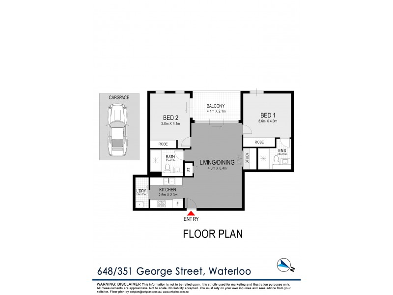 648/351 George Street, Waterloo NSW 2017 Floorplan