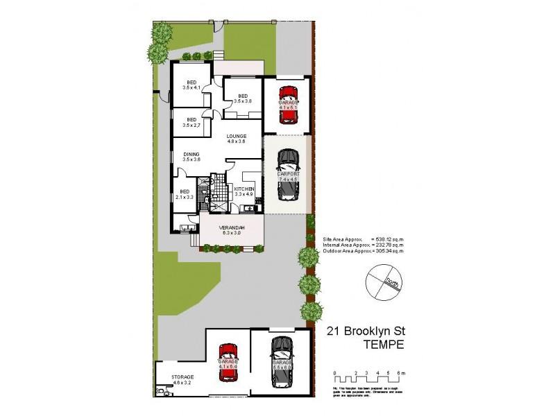21 Brooklyn Street, Tempe NSW 2044 Floorplan