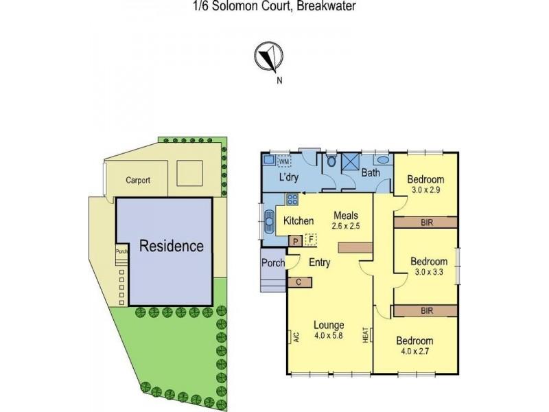 1/6 Solomon Court, Breakwater VIC 3219 Floorplan