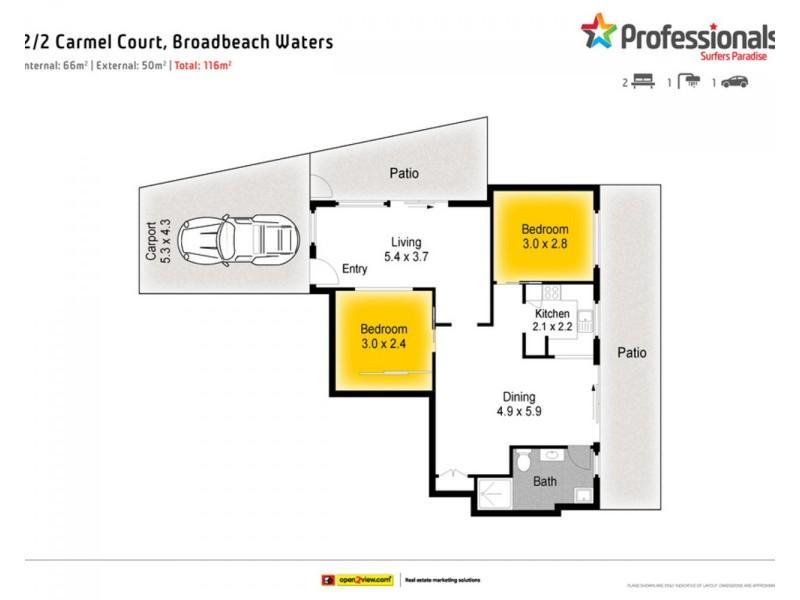 2/2 Carmel Court, Broadbeach Waters QLD 4218 Floorplan