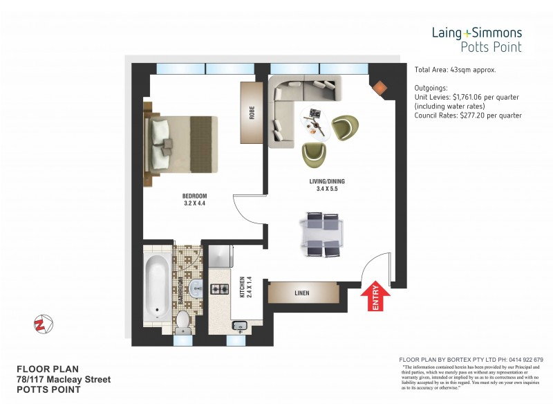 78/117 Macleay Street, Potts Point NSW 2011 Floorplan