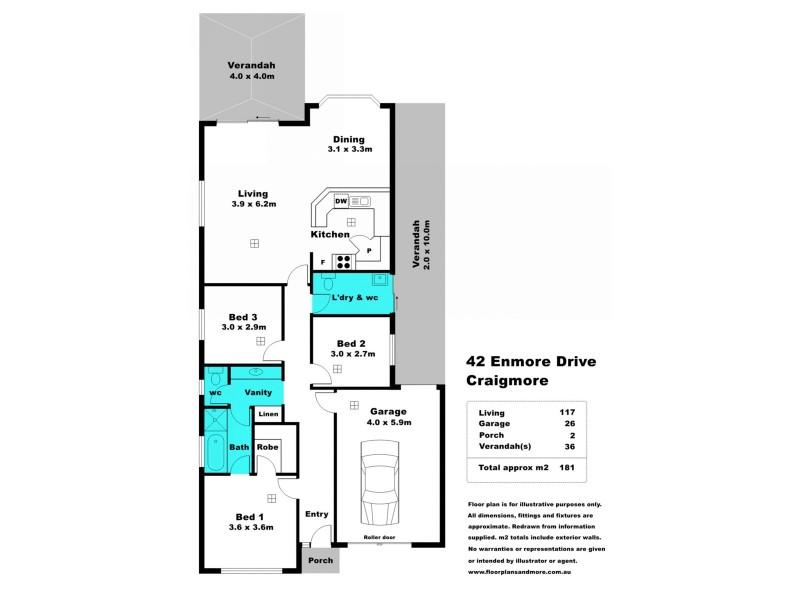 42 Enmore Drive, Craigmore SA 5114 Floorplan
