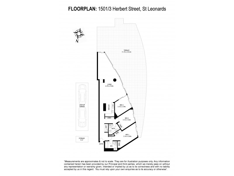 1501/3 Herbert Street, St Leonards NSW 2065 Floorplan