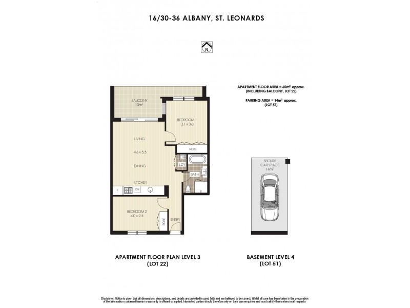 16/30-36 Albany Street, St Leonards NSW 2065 Floorplan