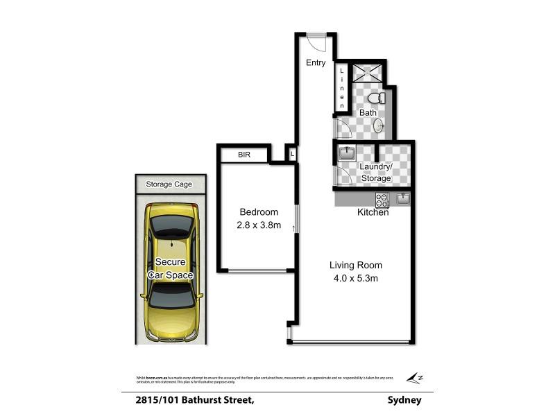 2815/101 Bathurst Street, Sydney NSW 2000 Floorplan