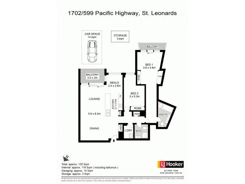 1702/599 Pacific Highway, St Leonards NSW 2065 Floorplan