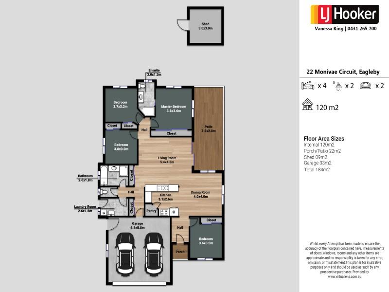 22 Monivae Circuit, Eagleby QLD 4207 Floorplan