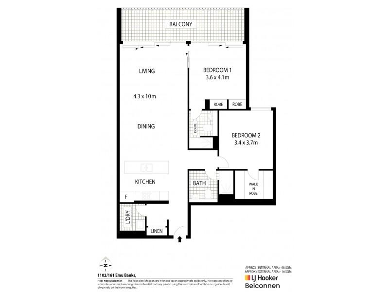 1102/161 Emu Bank, Belconnen ACT 2617 Floorplan