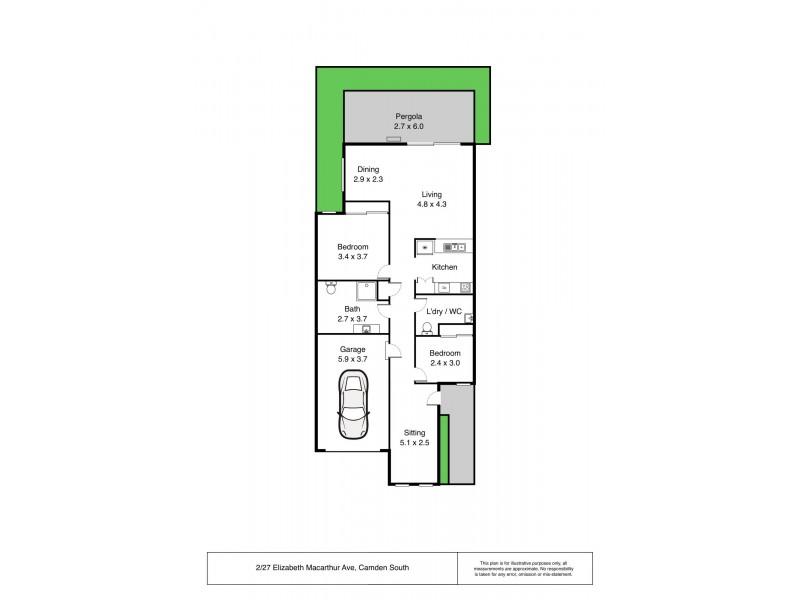 2/27 Elizabeth Macarthur  Avenue, Camden South NSW 2570 Floorplan