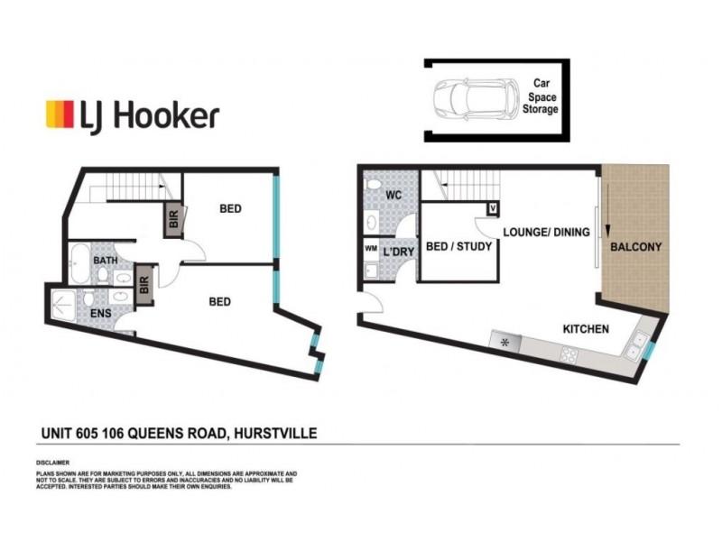 D605/106 Queens Road, Hurstville NSW 2220 Floorplan