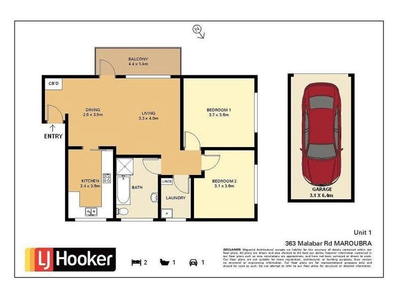 1/363 Malabar Road, Maroubra NSW 2035 Floorplan