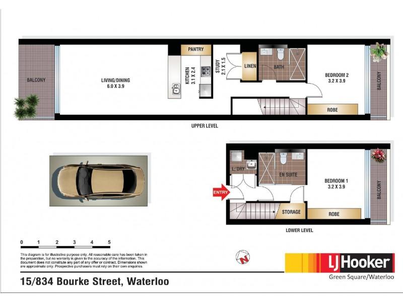 15/834 Bourke Street, Waterloo NSW 2017 Floorplan