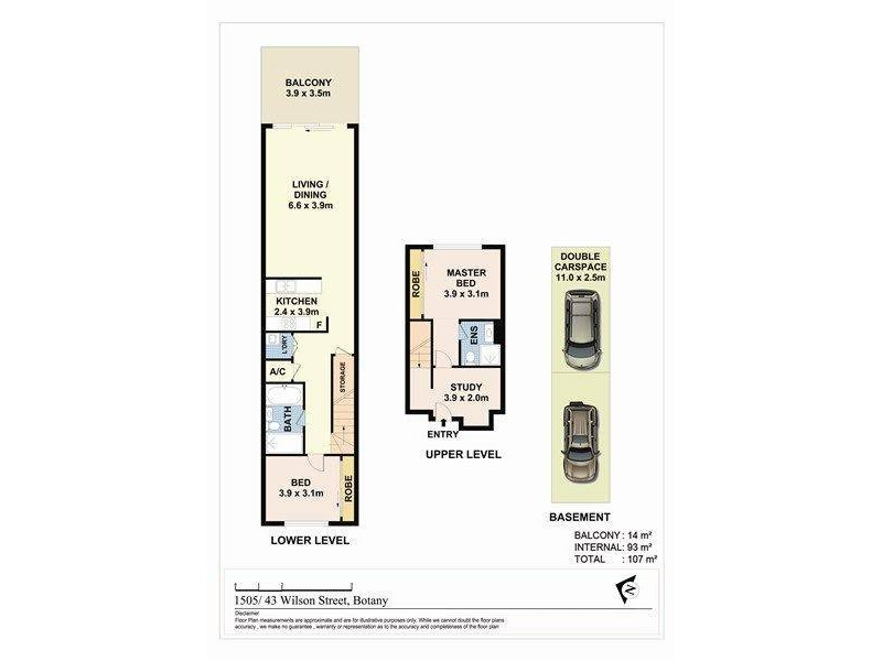 1505/43 Wilson Street, Botany NSW 2019 Floorplan