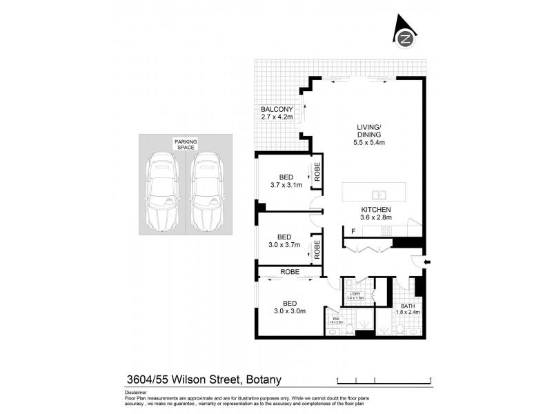3604/53-55 Wilson Street, Botany NSW 2019 Floorplan