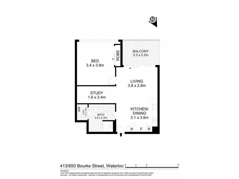 413/850 Bourke Street, Waterloo NSW 2017 Floorplan