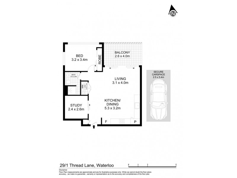 29/1 Thread Lane, Waterloo NSW 2017 Floorplan