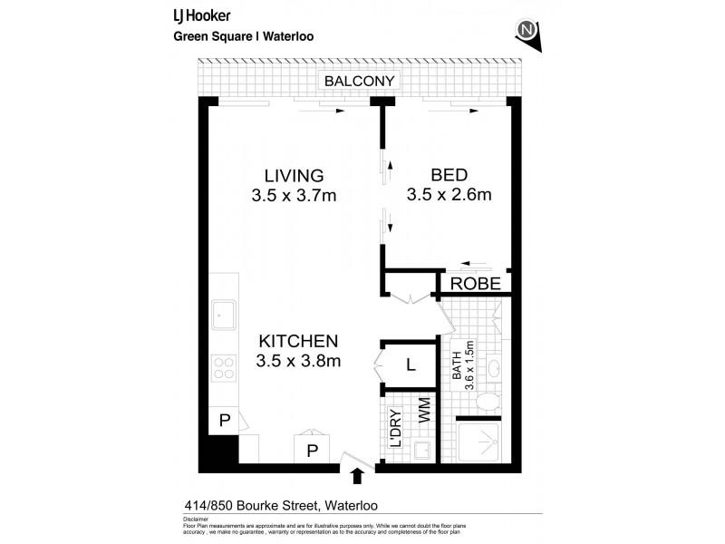 414/850 Bourke Street, Waterloo NSW 2017 Floorplan