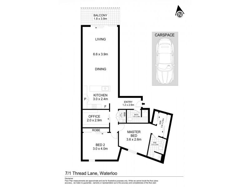 7/1 Thread Lane, Waterloo NSW 2017 Floorplan