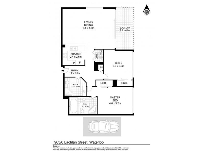 903/6 Lachlan Street, Waterloo NSW 2017 Floorplan
