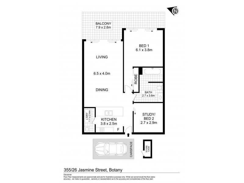 355/26 Jasmine Street, Botany NSW 2019 Floorplan