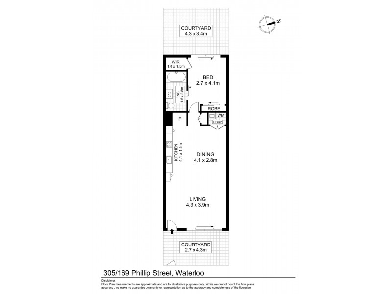 305/169 – 175 Phillip Street, Waterloo NSW 2017 Floorplan