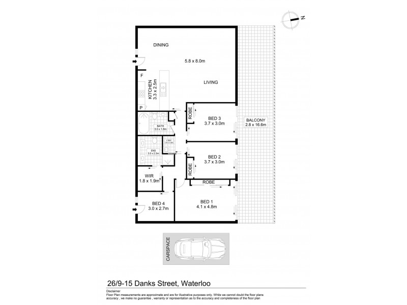 26/9 Danks Street, Waterloo NSW 2017 Floorplan