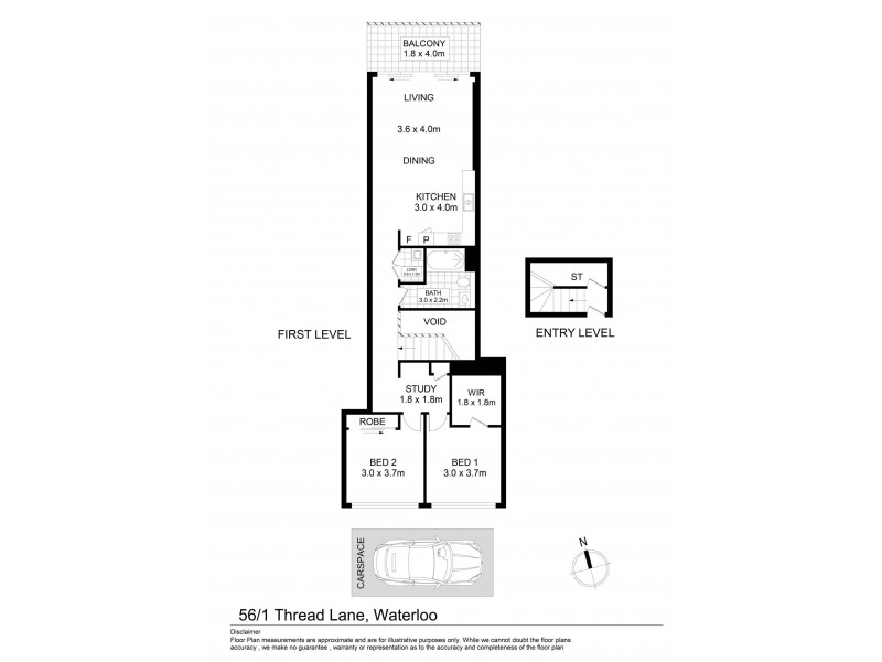 56/1 Thread Lane, Waterloo NSW 2017 Floorplan