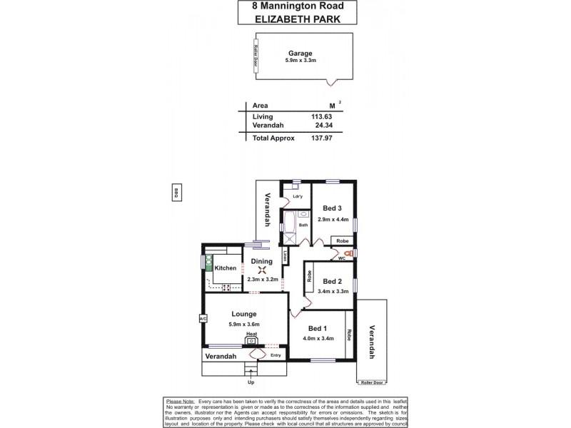 8 Mannington Road, Elizabeth Park SA 5113 Floorplan