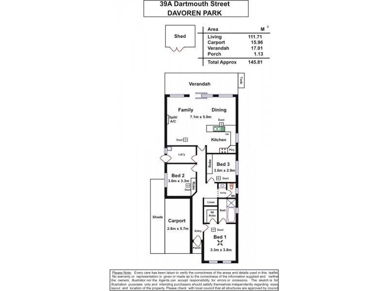 39a Dartmouth Street, Davoren Park SA 5113 Floorplan