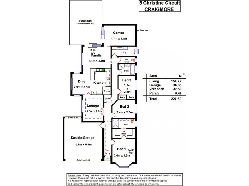 5 Christine Circuit, Craigmore SA 5114 Floorplan