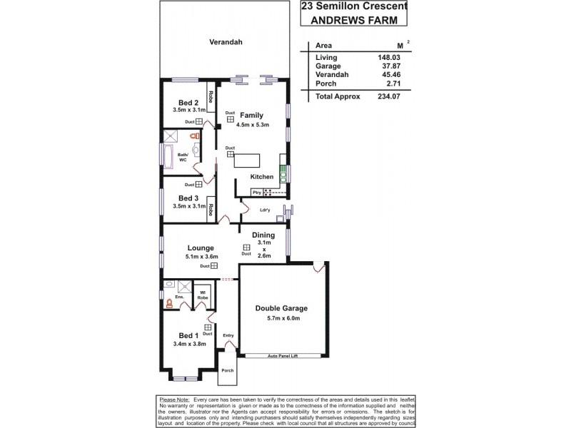 23 Semillon Crescent, Andrews Farm SA 5114 Floorplan