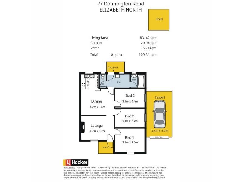 27 Donnington Road, Elizabeth North SA 5113 Floorplan