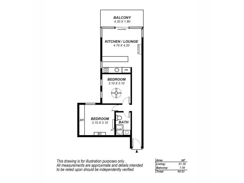 1205/10 Balfours Way, Adelaide SA 5000 Floorplan
