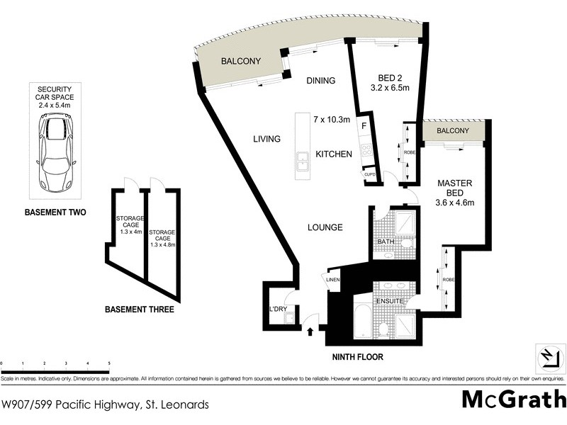 W907/599 Pacific Highway, St Leonards NSW 2065 Floorplan