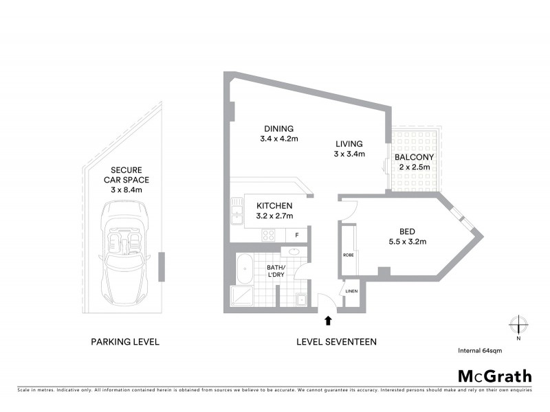 1701/5 York Street, Sydney NSW 2000 Floorplan