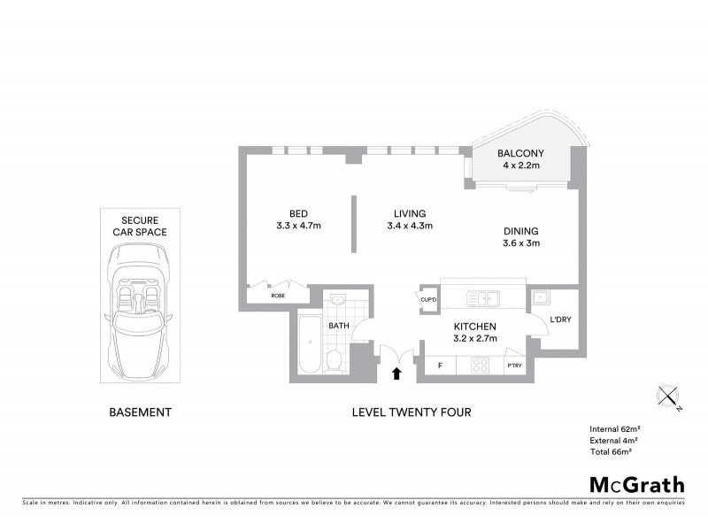 2406/168 Kent Street, Sydney NSW 2000 Floorplan