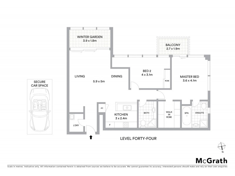 4405/91-93 Liverpool Street, Sydney NSW 2000 Floorplan